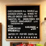 The snack bar menu